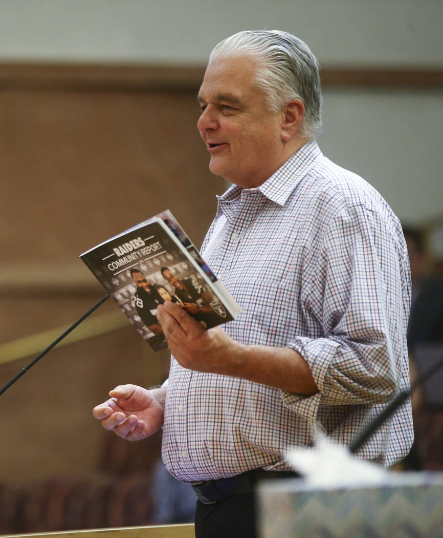 Clark County Commission Chairman Steve Sisolak during a Las Vegas Stadium Authority board meeting at the Clark County Government Center in Las Vegas on Thursday, Aug. 17, 2017. Chase Stevens Las V ...