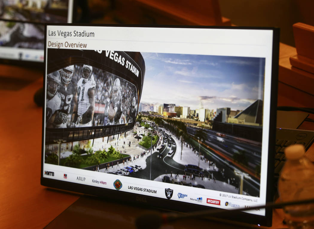 An image presented by the Oakland Raiders during a Las Vegas Stadium Authority board meeting at the Clark County Government Center in Las Vegas on Thursday, Aug. 17, 2017. Chase Stevens Las Vegas  ...