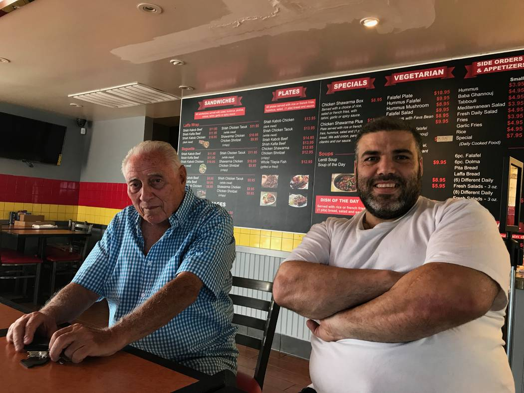 Kiton Kitchen on West Sahara Avenue opened in June. Pictured are owner Isaac Shoham, left, and chef Fawzi Qaz Qaz, right. (Madelyn Reese/View) @MadelynGReese