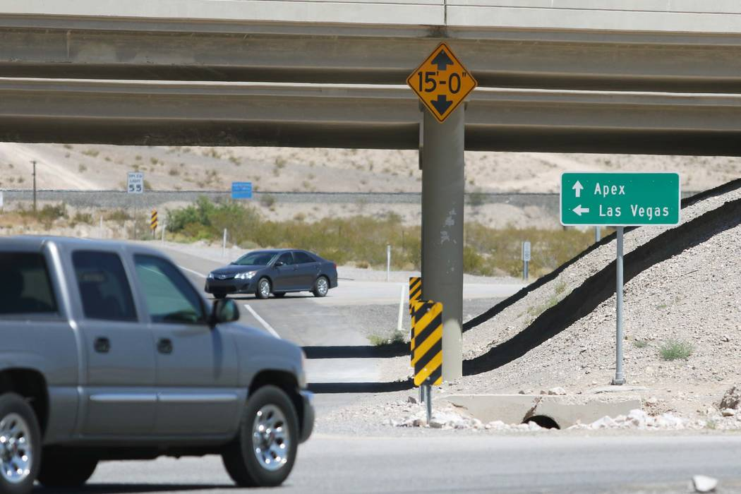 A sign for Apex Industrial Park is shown near the end of an Interstate15 exit ramp in North Las Vegas. (Ronda Churchill/Las Vegas Review-Journal)