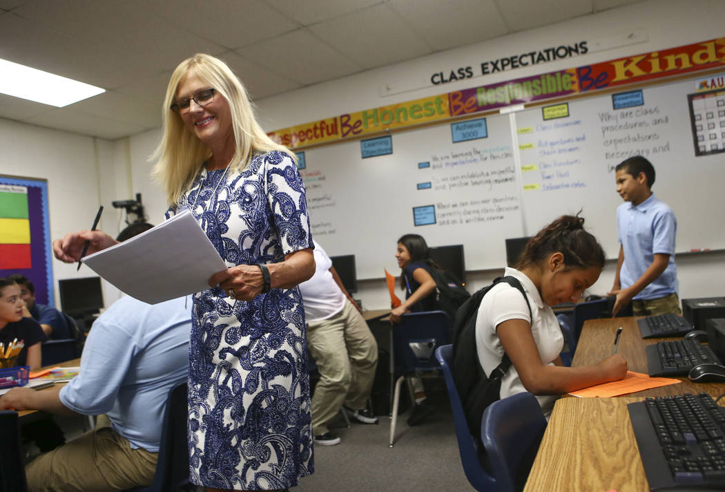 English language learning teacher Kimberly Ivanick during the first day of classes at Garside Junior High School in Las Vegas on Monday, Aug. 14, 2017. More than 320,000 children will be headed in ...