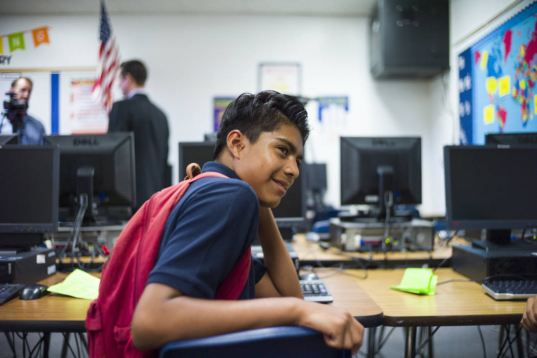 Eighth-grader Abel Silva, 12, an English language learning student, during the first day of classes at Garside Junior High School in Las Vegas on Monday, Aug. 14, 2017. Silva hopes to be an &q ...