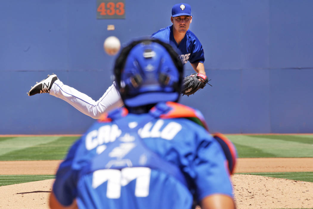 51's starting pitcher Ricky Knapp (32) throws a pitch on Sunday, May 14, 2017, during a game against Omaha at Cashman Field in Las Vegas. Rachel Aston Las Vegas Review-Journal @rookie__rae