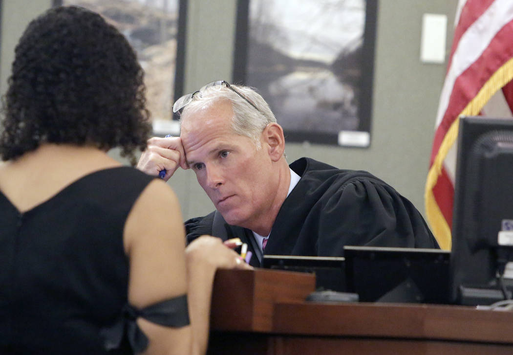 Judge Douglas Herndon listens to Erika Ballou, a deputy public defender in Clark County, Thursday, Sept. 22, 2016, at the Regional Justice Center in Las Vegas. Bizuayehu Tesfaye/Las Vegas Review-J ...