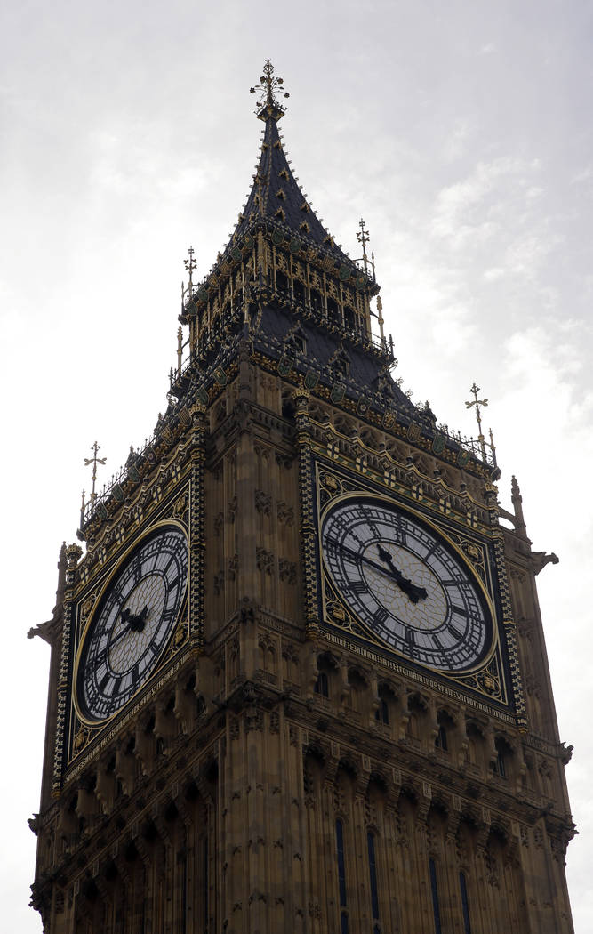 """A general view of the Queen Elizabeth Tower, which hold the bell known as 'Big Ben"""" in London, Monday, Aug. 14, 2017. (AP Photo/Alastair Grant)"""
