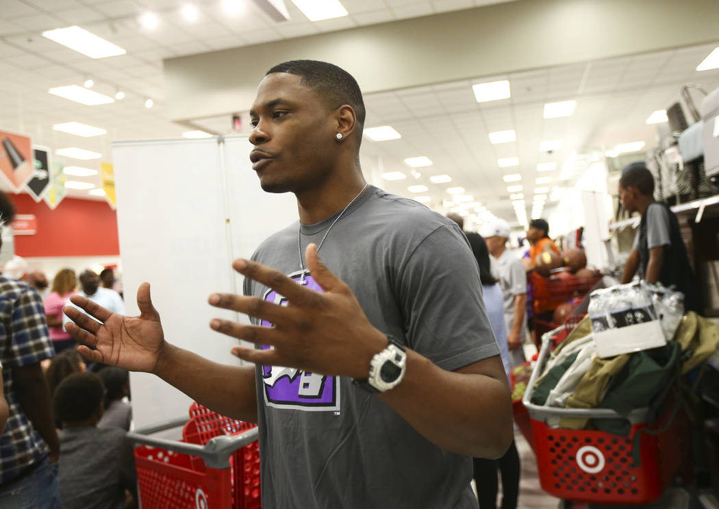 Former UNLV and NBA player Marcus Banks, now a player in the Big 3 basketball league, during an event held by the Nevada Partnership for Homeless Youth and the Big 3 at Target, 8750 W. Charleston  ...