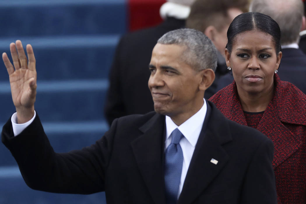 President Barack Obama and First Lady Michelle Obama look on at inauguration ceremonies swearing in Donald Trump as the 45th president of the United States on the West front of the U.S. Capitol in ...