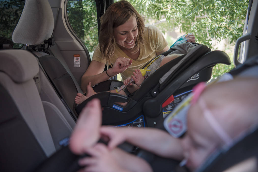 Megan Barborka with her twins, Henry and Lorea, outside the Barborka home on Tuesday, Aug. 15, 2017, in Las Vegas. Morgan Lieberman Las Vegas Review-Journal