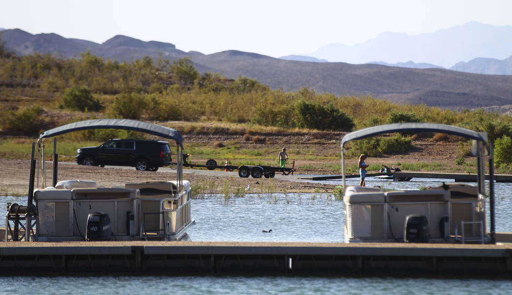 A boat launch area at the Las Vegas Boat Harbor at Lake Mead National Recreation Area on Tuesday, Aug. 15, 2017. Chase Stevens Las Vegas Review-Journal @csstevensphoto