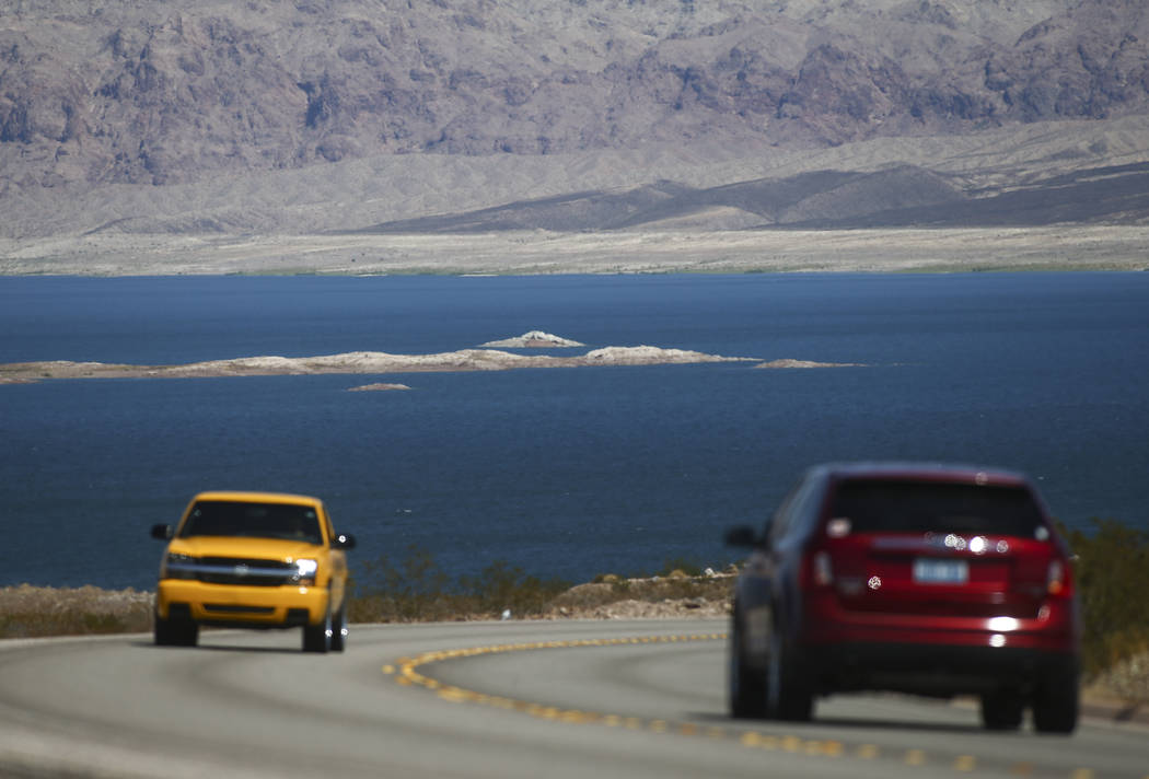 Cars drive along Lakeshore Road at Lake Mead National Recreation Area on Tuesday, Aug. 15, 2017. Chase Stevens Las Vegas Review-Journal @csstevensphoto
