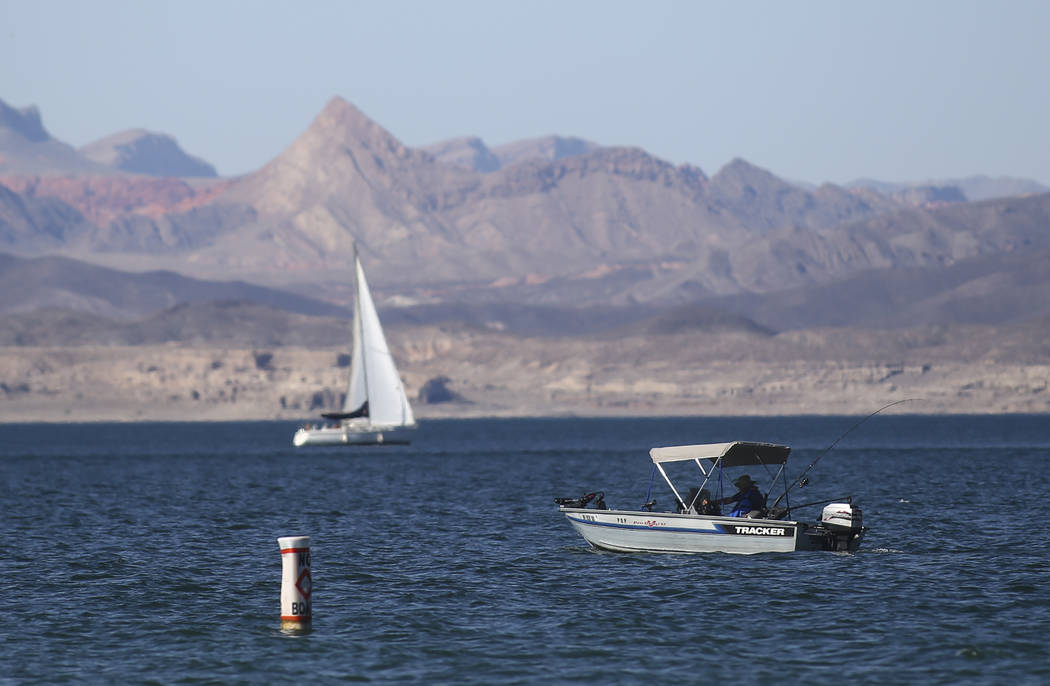 A fisherman at Lake Mead National Recreation Area on Tuesday, Aug. 15, 2017. Chase Stevens Las Vegas Review-Journal @csstevensphoto