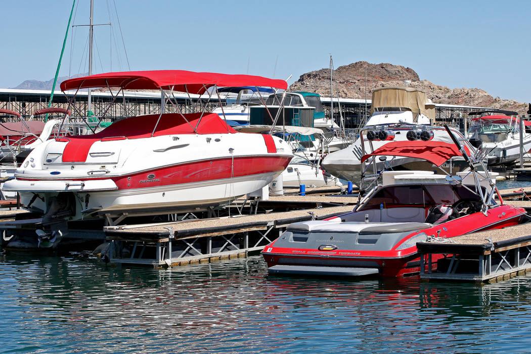 Boats docked at the Lake Mead Marina, Tuesday, Aug. 15, 2017. Gabriella Benavidez Las Vegas Review-Journal @latina_ish