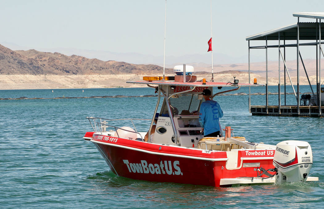 Brent Thompson drives his boat out from the Lake Mead Marina and onto the water to help any boats that may have become stranded, Tuesday, Aug. 15, 2017. Gabriella Benavidez Las Vegas Review-Journa ...