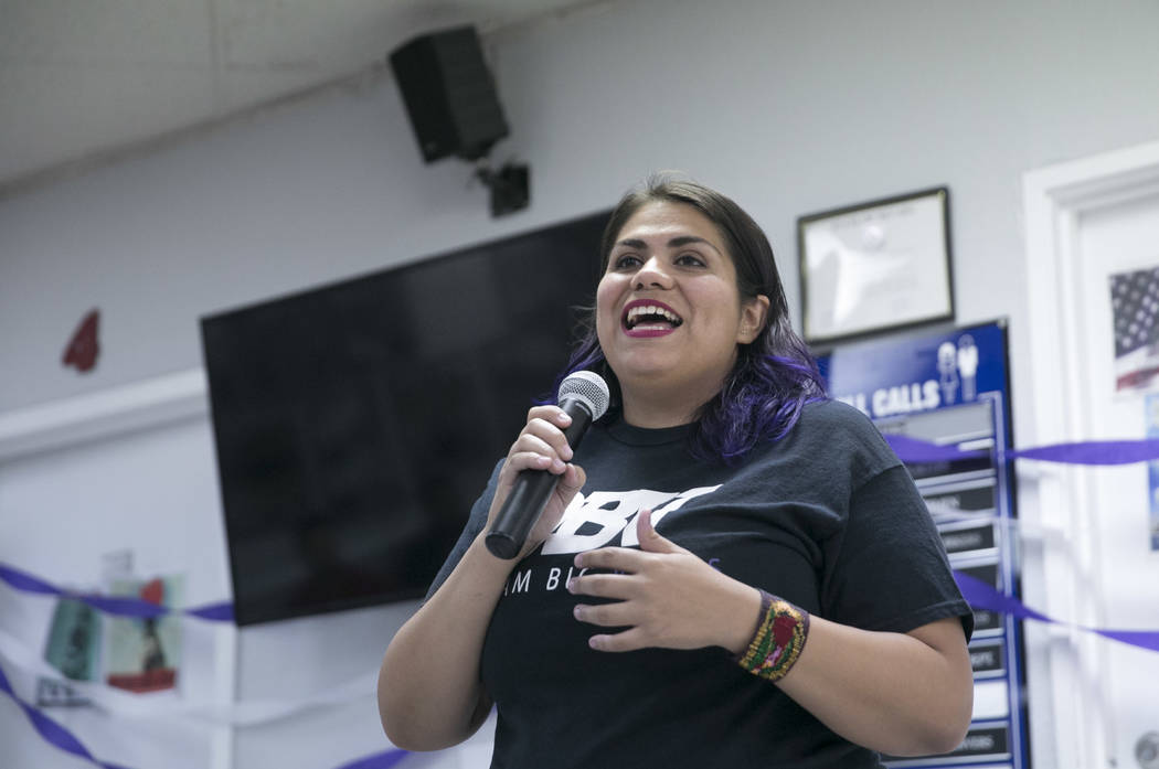 Astrid Silva, an activist and a Dreamer, during a presentation commemorating the fifth anniversary of the Deferred Action for Childhood Arrivals (DACA) executive order at the Culinary Workers Unio ...