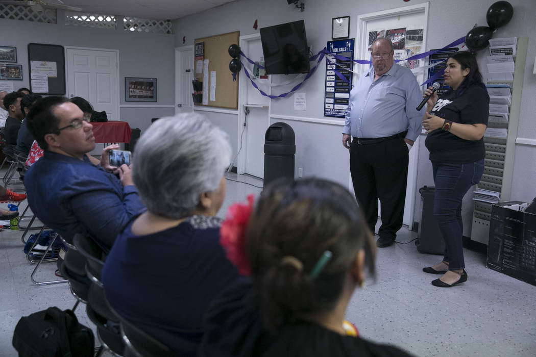 Peter Ashman, an immigration lawyer based out of Las Vegas, left, and Astrid Silva, an activist and a Dreamer, right, during a presentation commemorating the fifth anniversary of the Deferred Acti ...
