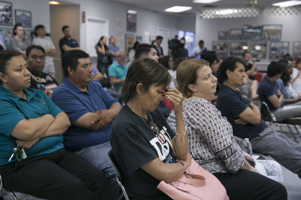 Barbara Silva rubs the bridge of her nose while listening to a presentation commemorating the fifth anniversary of the Deferred Action for Childhood Arrivals (DACA) executive order  at the Culinar ...