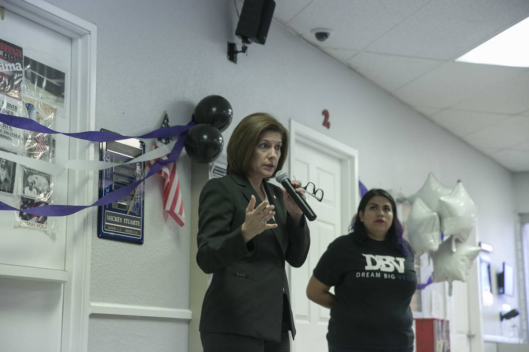 Sen. Catherine Cortez Masto, left, speaks during a presentation commemorating the fifth anniversary of the Deferred Action for Childhood Arrivals (DACA) executive order at the Culinary Workers Uni ...