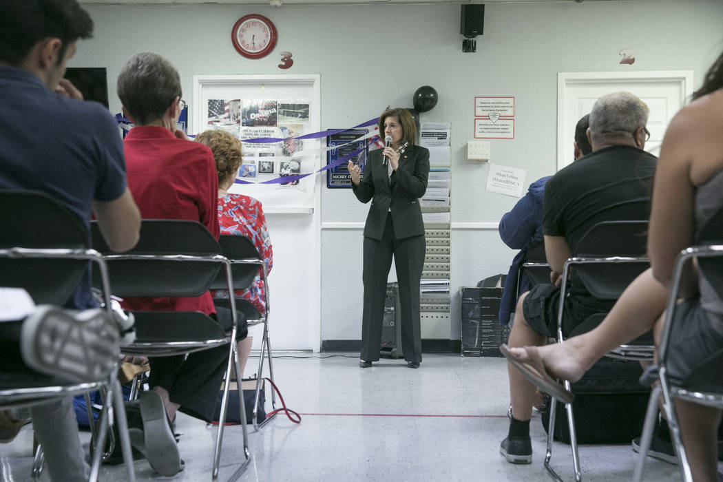 Sen. Catherine Cortez Masto speaks during a presentation commemorating the fifth anniversary of the Deferred Action for Childhood Arrivals (DACA) executive order at the Culinary Workers Union Loca ...