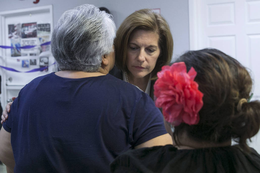 Sen. Catherine Cortez Masto speaks to Las Vegas residents after speaking at a presentation commemorating the fifth anniversary of the Deferred Action for Childhood Arrivals (DACA) executive order  ...