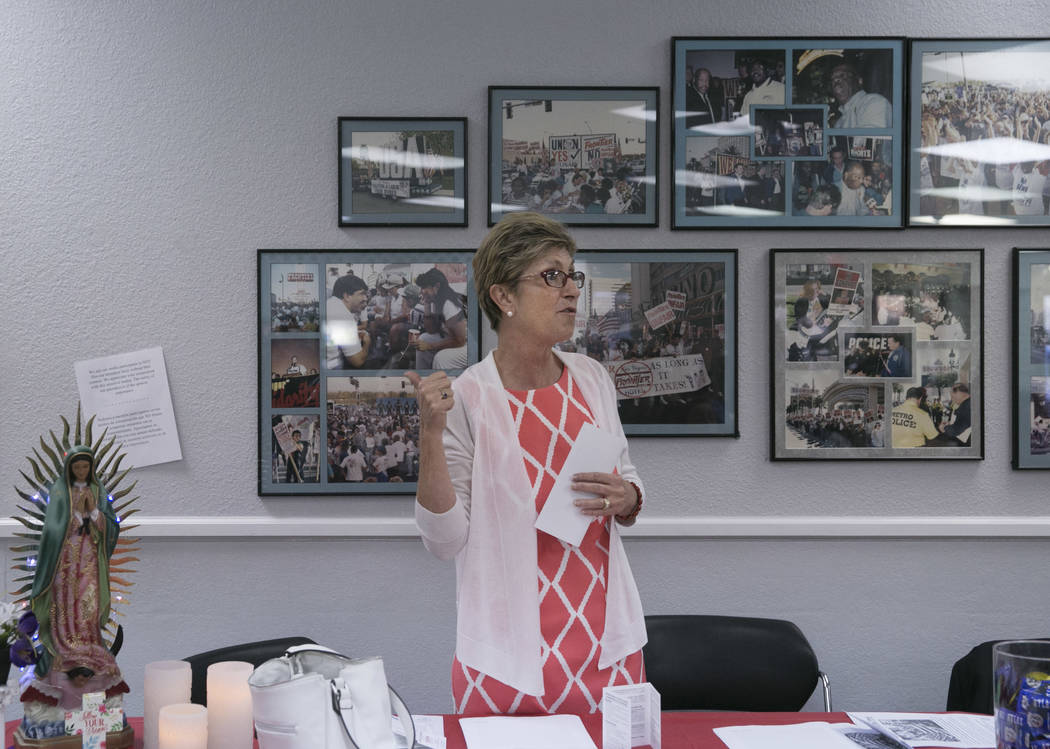 Clark County Commissioner Chris Giunchigliani speaks during a presentation commemorating the fifth anniversary of the Deferred Action for Childhood Arrivals (DACA) executive order  at the Culinary ...