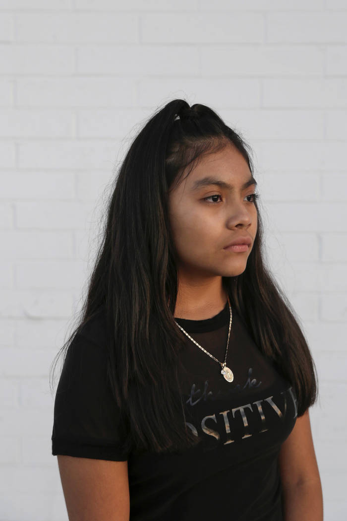 Karla Ortiz, 12, outside of the Culinary Workers Union Local 226 headquarters in Las Vegas, on Tuesday, Aug. 15, 2017. Ortiz was born in the United States to undocumented, Guatemalan parents. Now  ...