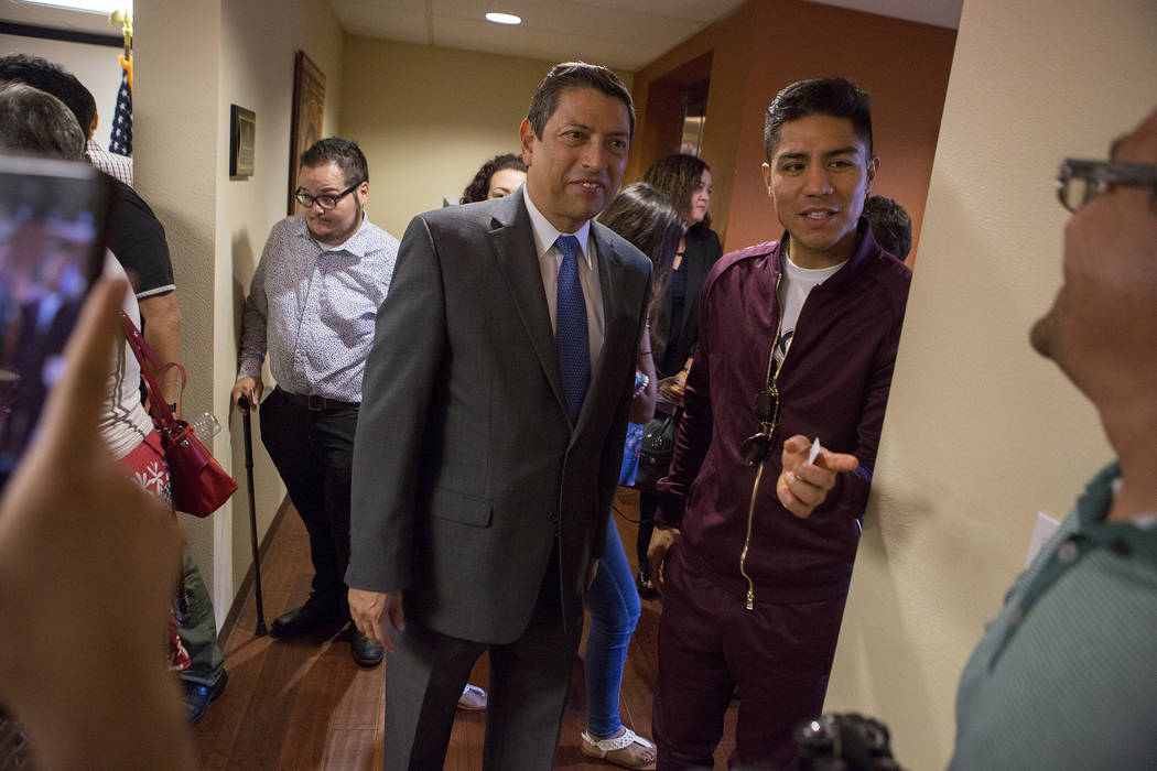 Mexican Consul Alejandro Madrigal, left, and professional boxer Jessie Vargas speak during a Deferred Action for Childhood Arrivals (DACA) anniversary event at the Consulate of Mexico in Las Vegas ...