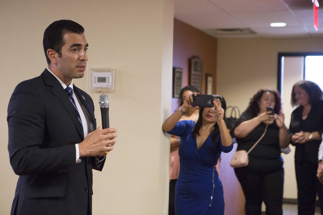 Rep. Ruben Kihuen, D-Nev., speaks during a Deferred Action for Childhood Arrivals (DACA) anniversary event at the Consulate of Mexico in Las Vegas on Tuesday, Aug. 15, 2017.  Bridget Bennett Las V ...