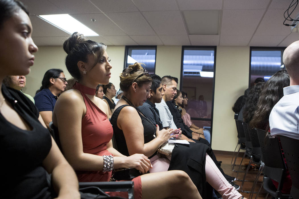 Attendees gather for a Deferred Action for Childhood Arrivals (DACA) anniversary event at the Consulate of Mexico in Las Vegas on Tuesday, Aug. 15, 2017. Bridget Bennett Las Vegas Review-Journal @ ...