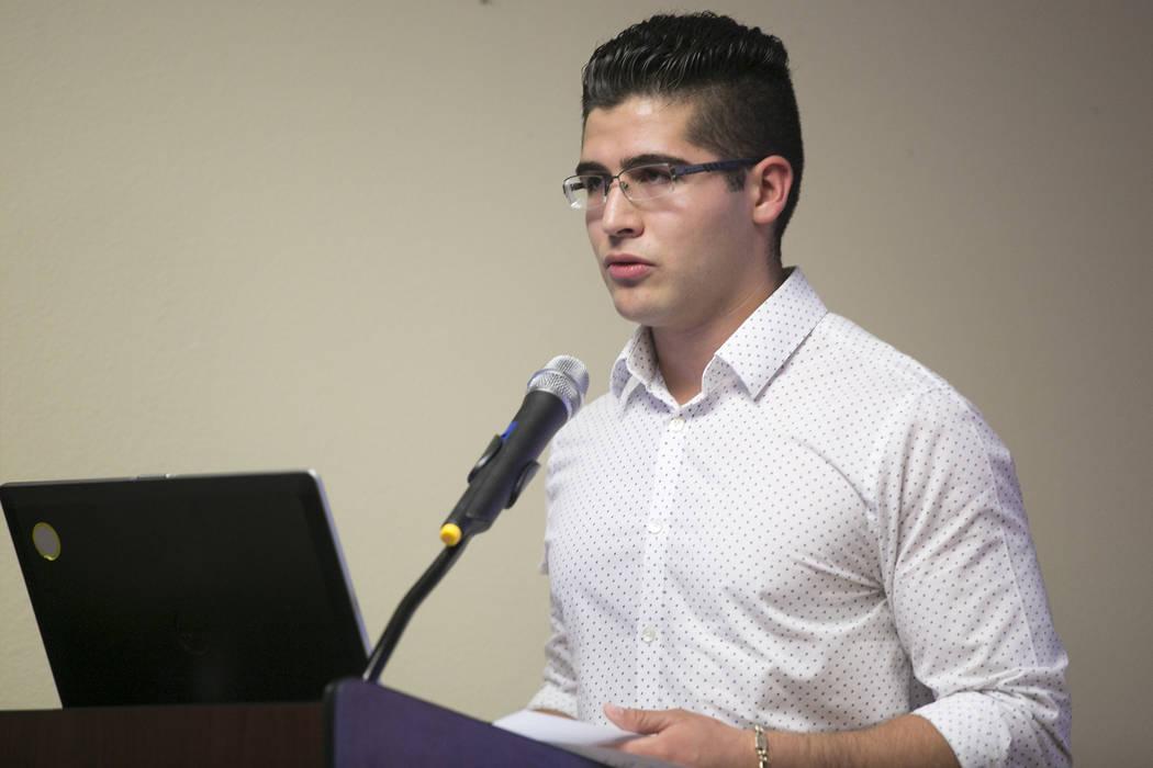 'Dreamer' Jose Yaez, a Las Vegas local and Princeton University student, speaks at the Consulate of Mexico in Las Vegas on Tuesday, Aug. 15, 2017. Bridget Bennett Las Vegas Review-Journal @bridget ...