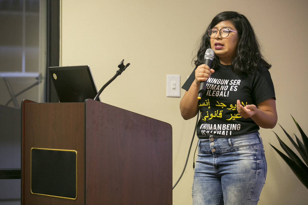 UNLV student Mariana Sarmiento speaks about financial aid for undocumented students and student group UndocuNetwork during a DACA anniversary event at the Consulate of Mexico in Las Vegas on Tuesd ...