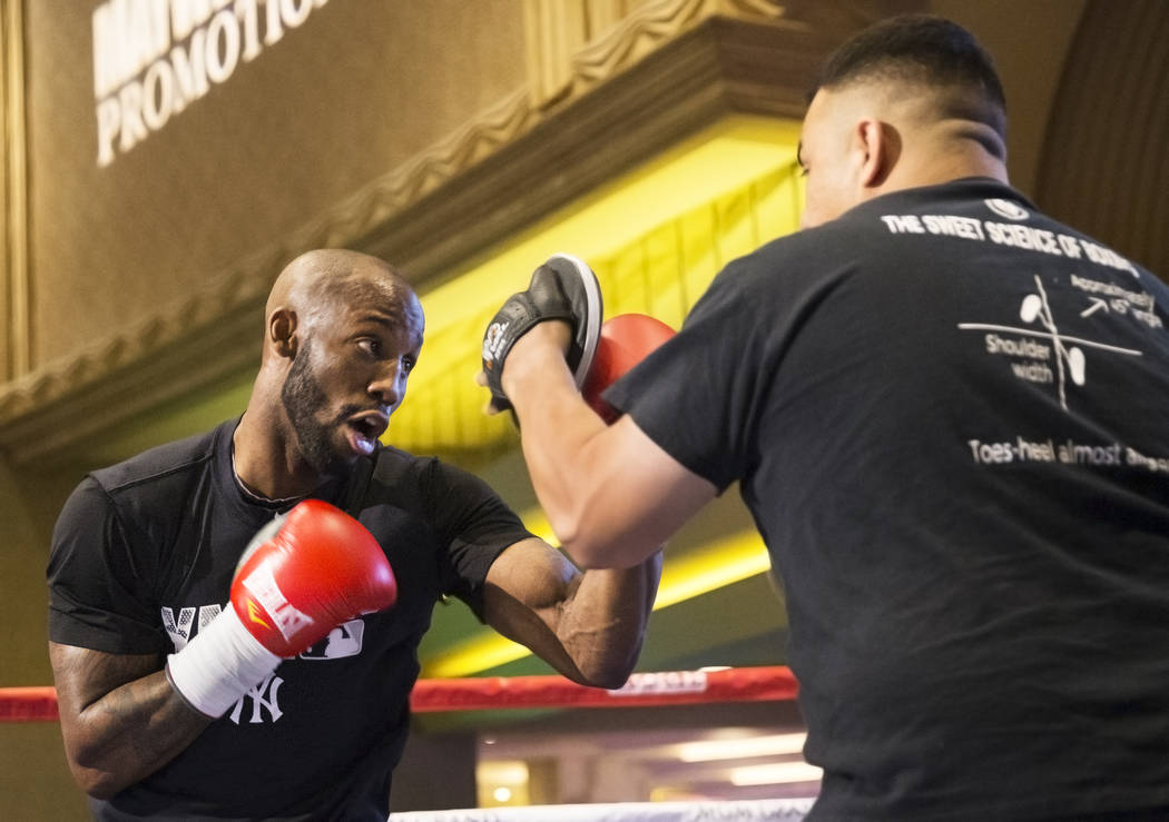 Yordenis Ugas warms up during open workouts on Wednesday, Aug 23, 2017, at the MGM Grand casino-hotel, in Las Vegas. Benjamin Hager Las Vegas Review-Journal @benjaminhphoto