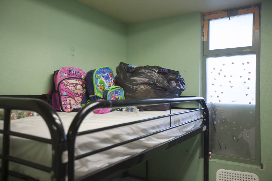A bunk bed in the family dorm area at The Shade Tree women's shelter on Thursday, Aug. 24, 2017, in Las Vegas. The shelter serves women and children, especially those facing domestic violence. A s ...