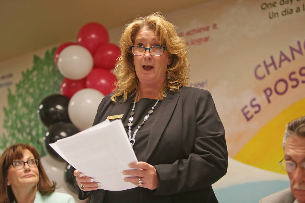 Stacey Lockhart, executive director of The Shade Tree women's shelter, talks to the crowd about the goals of the organization on Thursday, Aug. 24, 2017, at a fundraiser at The Shade Tree in Las V ...
