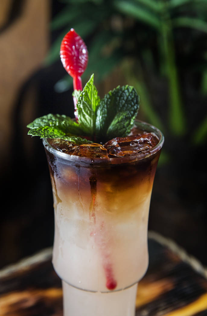 The Tunga Reefer cocktail at Frankie's Tiki Room on Thursday, Aug 17, 2017, in Las Vegas. (Benjamin Hager/Las Vegas Review-Journal) @benjaminhphoto
