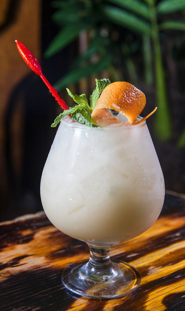The Scurvy cocktail at Frankie's Tiki Room on Thursday, Aug 17, 2017, in Las Vegas. (Benjamin Hager/Las Vegas Review-Journal) @benjaminhphoto