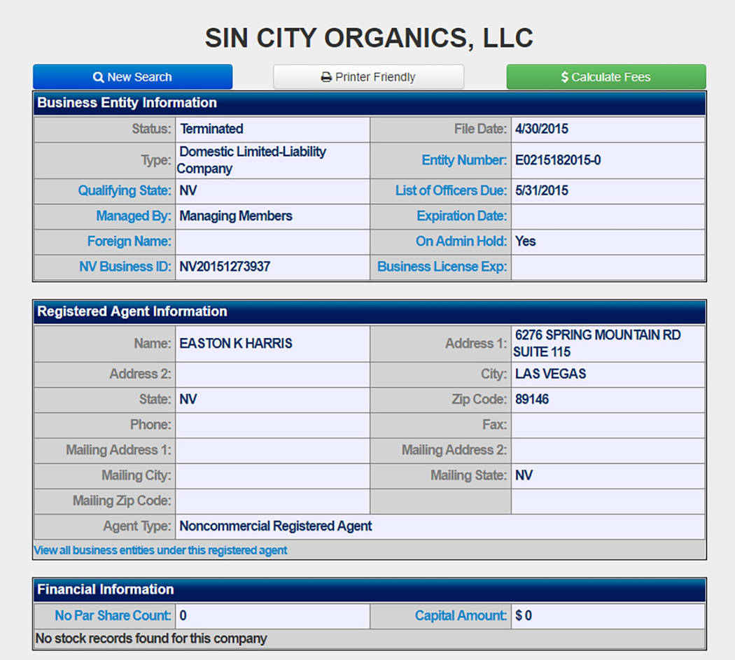 A screenshot shows registration information for Sin City Organics, LLC. The registration has been terminated.