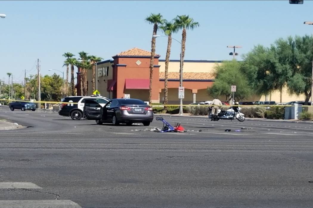 The scene of a crash involving a pedestrian at Maryland Parkway and Katie Avenue, near Flamingo Road on Tuesday, August 15, 2017. (Michael Shoro/Las Vegas Review-Journal)