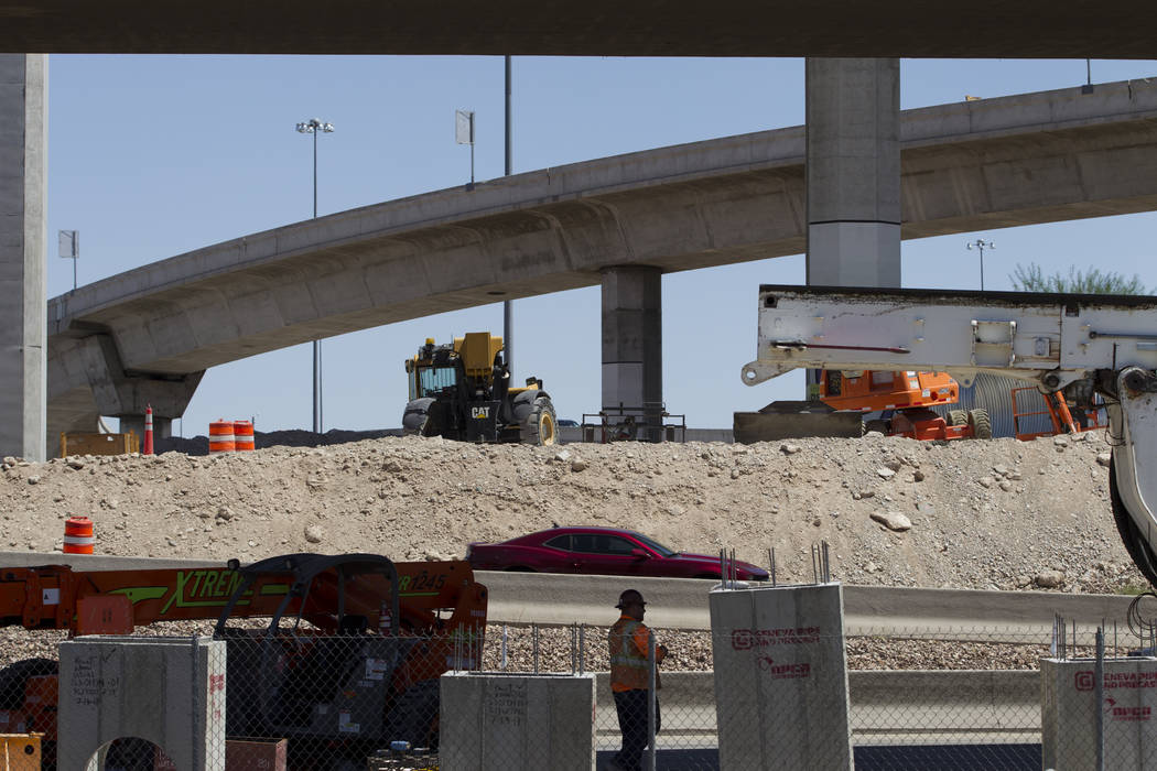 Construction on the ramp connecting southbound U.S. Highway 95 to northbound Interstate 15 in Las Vegas, on Wednesday, Aug. 16, 2017. Erik Verduzco Las Vegas Review-Journal @Erik_Verduzco