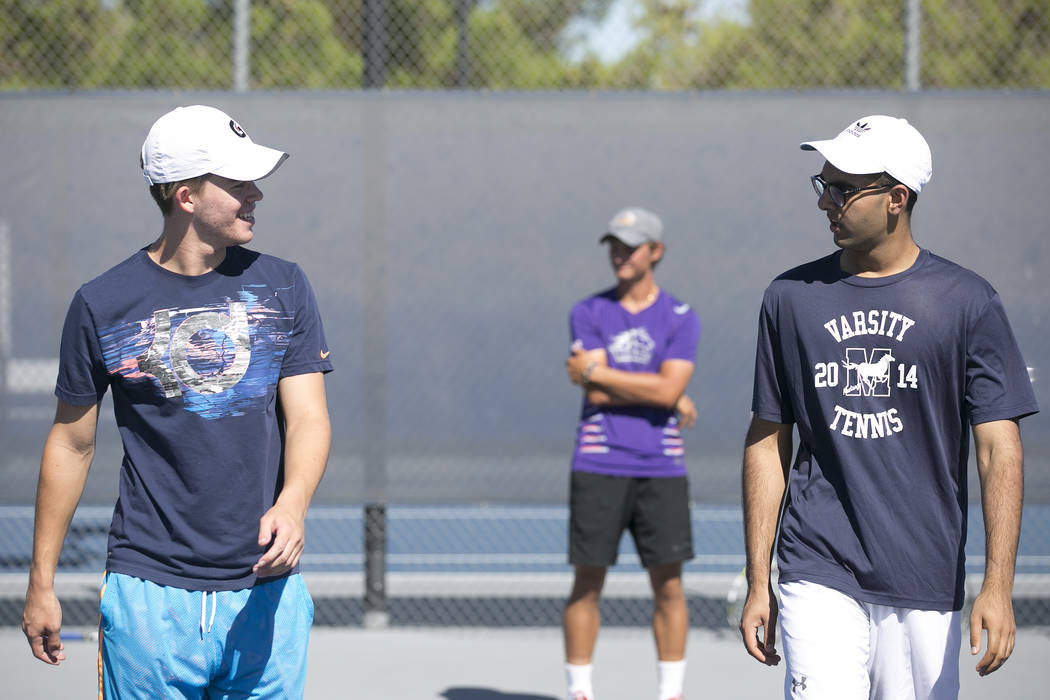 Doubles players Peyton Sachs, left, and Ahmed Nadeem-Tariq warm upʤuring practice at the Meadows School on Thursday, Aug. 17, 2017, in Las Vegas. Bridget Bennett Las Vegas Review-Journal @br ...