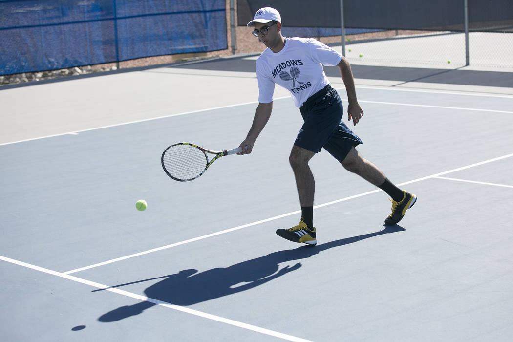 Doubles player Ahmed Nadeem-Tariq returns the ballʤuring practice at the Meadows School on Thursday, Aug. 17, 2017, in Las Vegas. Bridget Bennett Las Vegas Review-Journal @bridgetkbennett