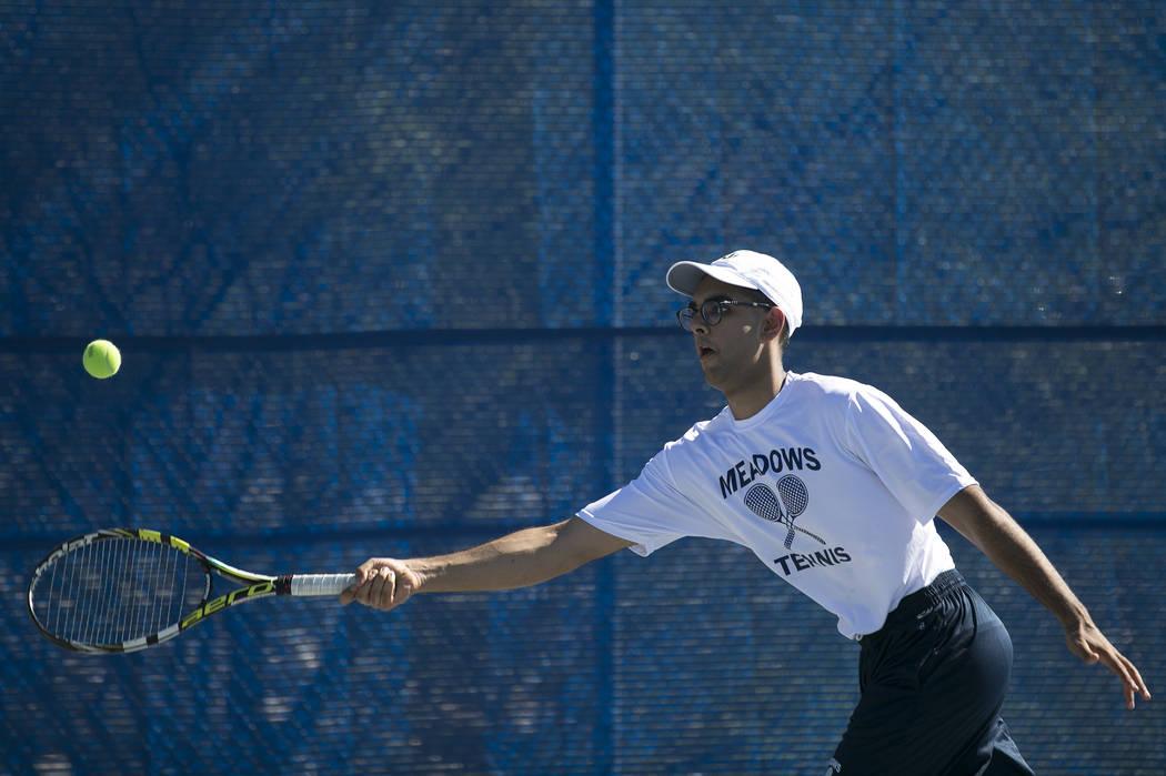 Doubles player Ahmed Nadeem-Tariq hits the ballʤuring practice at the Meadows School on Thursday, Aug. 17, 2017, in Las Vegas. Bridget Bennett Las Vegas Review-Journal @bridgetkbennett