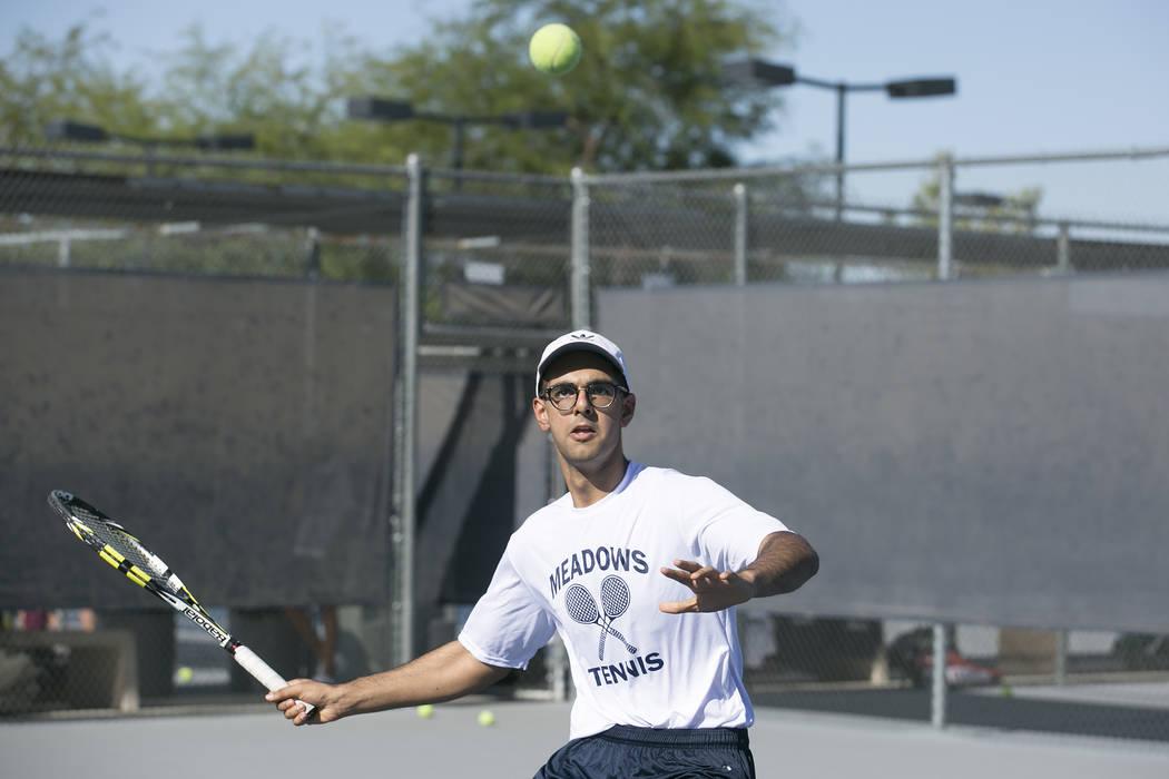 Doubles player Ahmed Nadeem-Tariq prepares to hit the ballʤuring practice at the Meadows School on Thursday, Aug. 17, 2017, in Las Vegas. Bridget Bennett Las Vegas Review-Journal @bridgetkbe ...