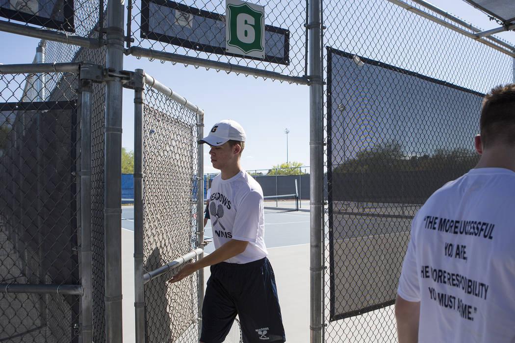 Doubles player Peyton Sachs walks off a courtʤuring practice at the Meadows School on Thursday, Aug. 17, 2017, in Las Vegas. Bridget Bennett Las Vegas Review-Journal @bridgetkbennett