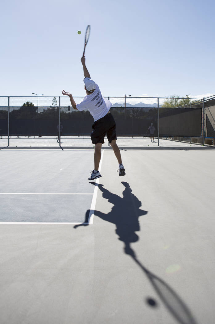 Doubles player Peyton Sachs serves the ballʤuring practice at the Meadows School on Thursday, Aug. 17, 2017, in Las Vegas. Bridget Bennett Las Vegas Review-Journal @bridgetkbennett