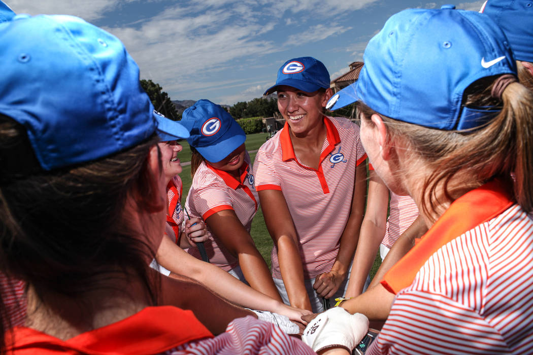 Hunter Pate of Bishop Gorman High School gathers with her teammates at the Highland Falls Golf Course in Las Vegas on Aug. 28, 2017. Joel Angel Juarez Las Vegas Review-Journal @jajuarezphoto