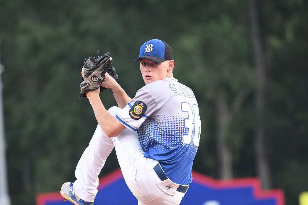 Southern Nevada Blue Sox's starting pitcher Shane Spencer delivers against Omaha, Neb. during the championship game of the American Legion World Series on Tuesday, Aug. 15, 2017 in Shelby, N.C.  S ...