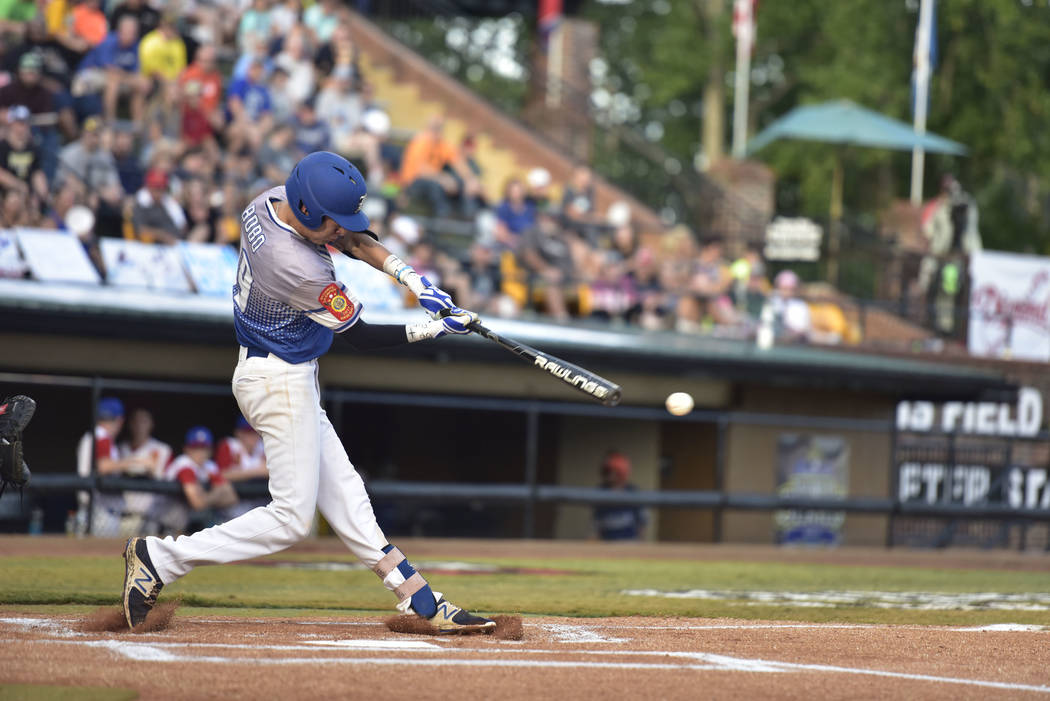 Southern Nevada Blue Sox's John Howard Bobo starts the game off with a single against Omaha, Neb. during the championship game of the American Legion World Series  in Shelby, N.C. on Tuesday, Aug. ...
