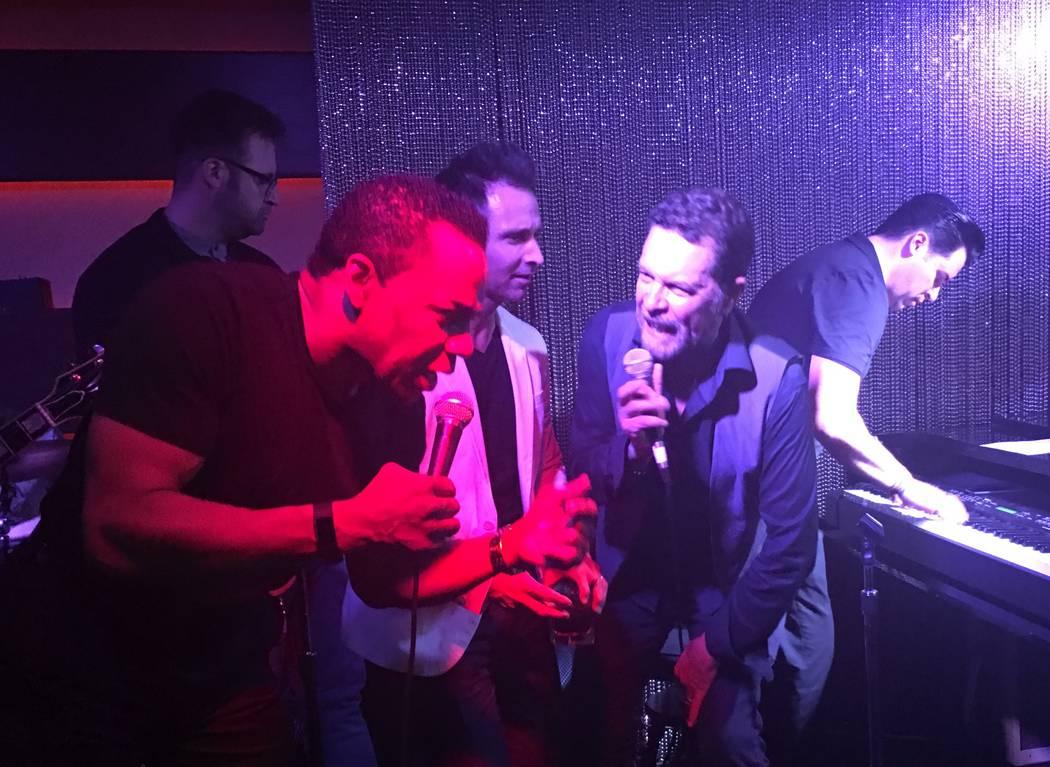 Earl Turner, Travis Cloer, Clint Holmes and Frankie Moreno jam at Rush Lounge at the Golden Nugget on Thursday, July 8, 2017. (John Katsilometes/Las Vegas Review-Journal)