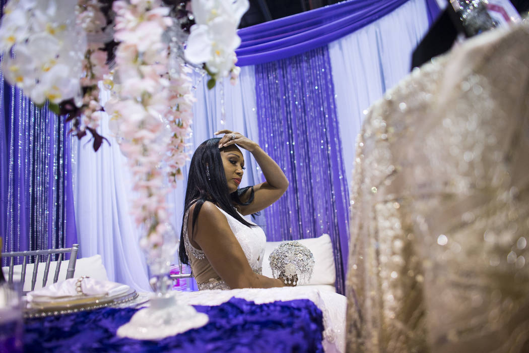 Mayani Gray models a dress during the Bridal Spectacular wedding expo at Cashman Center in Las Vegas on Saturday, Aug. 19, 2017. Chase Stevens Las Vegas Review-Journal @csstevensphoto
