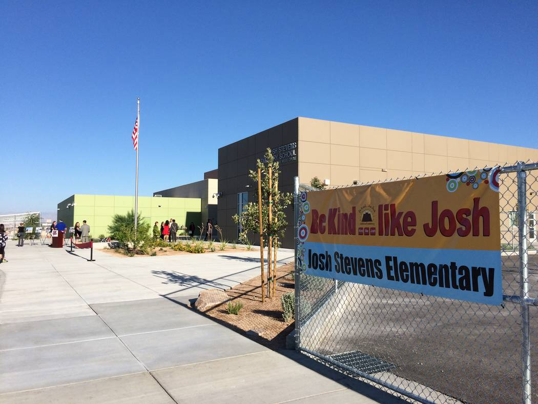 A sign, seen Aug.14, 2017, at Josh Stevens Elementary School, urges students to be like its namesake, a youngster who died in 2008. Josh was a known for being a friend to everyone and seeing that  ...